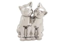 Silver Ceramic Cat Sculpture