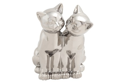 Silver Ceramic Cat Sculpture - Main