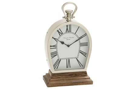 16 Inch Table Clock On Wooden Base - Main