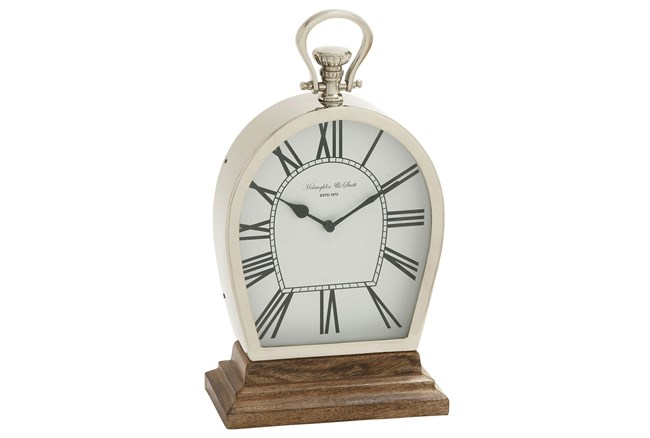 16 Inch Table Clock On Wooden Base