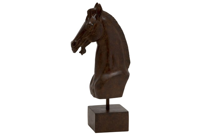 17 Inch Horse Head On Stand - 360