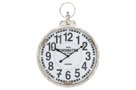 24 Inch Silver Metal Wall Clock - Main