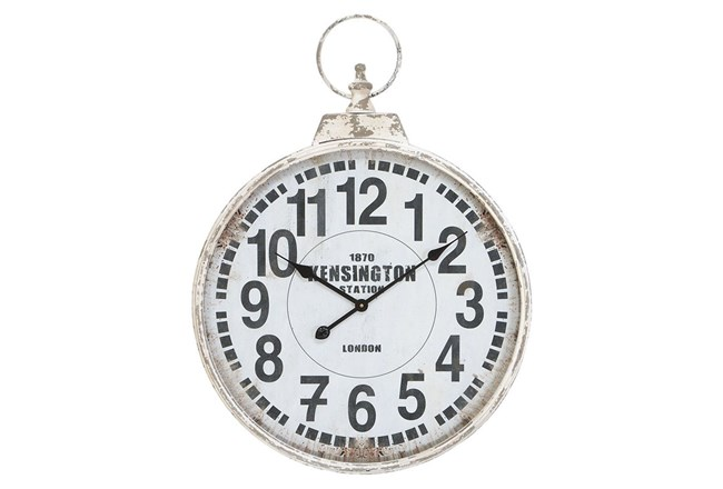 24 Inch Silver Metal Wall Clock - 360