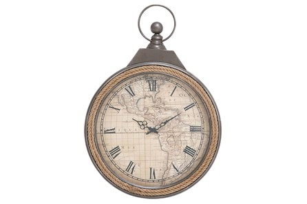 21 Inch Metal & Rope Wall Clock - Main