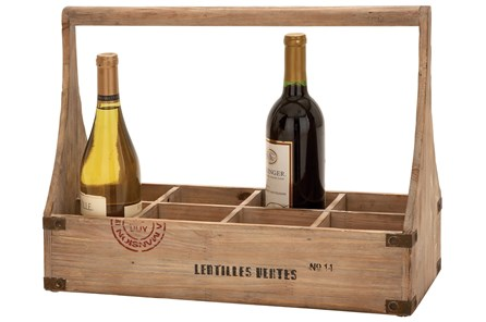 14 Inch Wooden Wine Basket - Main