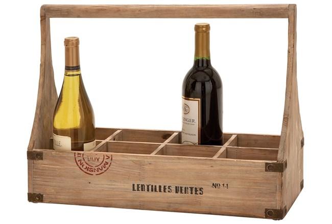 14 Inch Wooden Wine Basket - 360