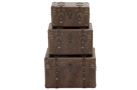3 Piece Set Wood & Leather Cases