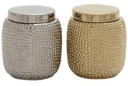 2 Piece Set Gold & Silver Ceramic Jars