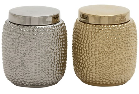 2 Piece Set Gold & Silver Ceramic Jars