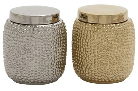 2 Piece Set Gold & Silver Ceramic Jars - Main