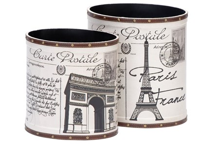 2 Piece Set Parisian Wood & Leather Cans - Main