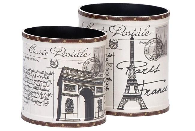 2 Piece Set Parisian Wood & Leather Cans - 360