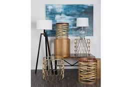 2 Piece Set Metal & Glass Accent Tables