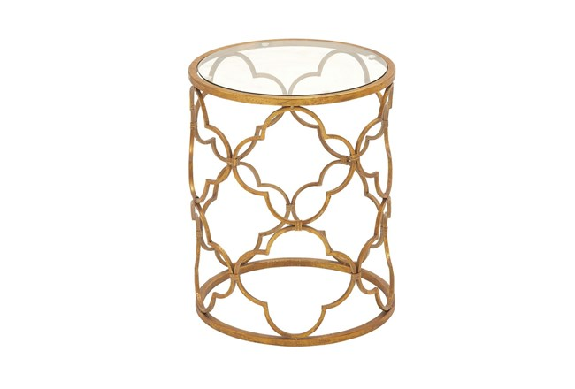 Lalita Metal & Glass Accent Table - 360