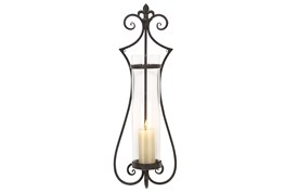 31 Inch Scroll Metal & Glass Candle Sconce