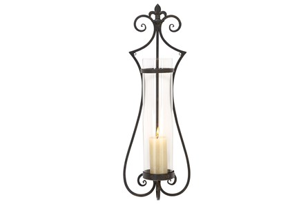31 Inch Scroll Metal & Glass Candle Sconce - Main