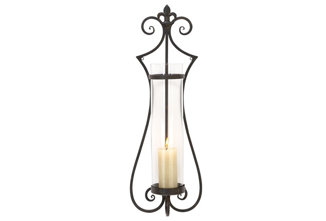31 Inch Scroll Metal & Glass Candle Sconce - 360