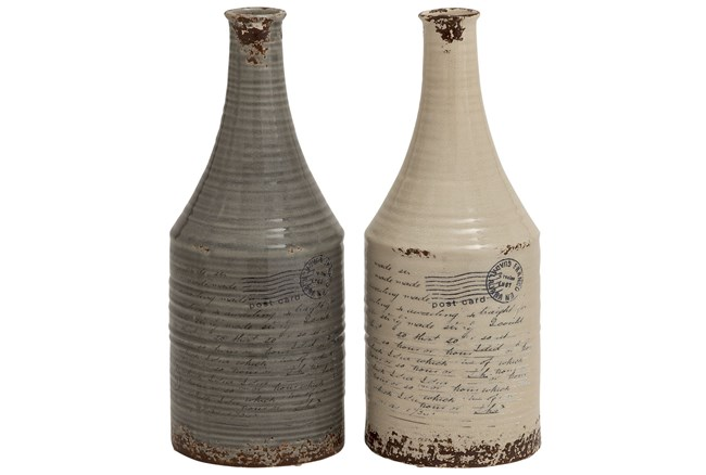 2 Piece Set 18 Inch Antique Ceramic Jugs - 360