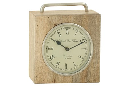9 Inch Wood & Metal Table Clock