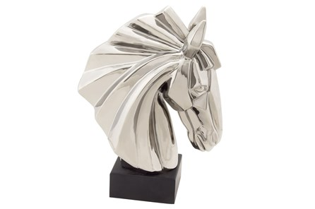 Silver Ceramic Horse Head On Stand - Main