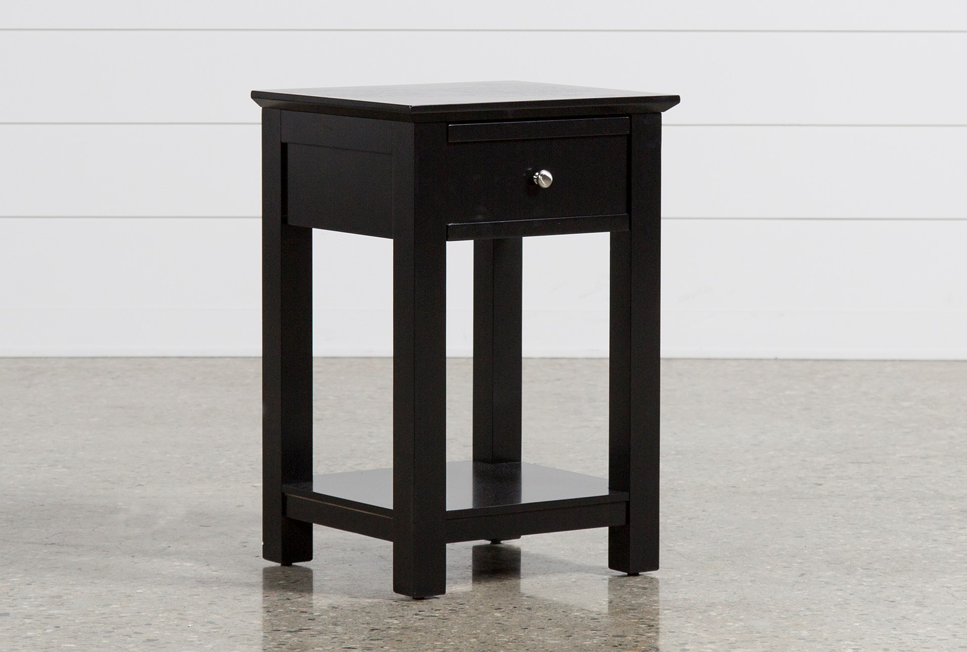 bayside black 1-drawer nightstand | living spaces Gray Night Stand
