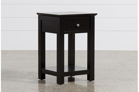 Bayside Black 1-Drawer Nightstand - Main