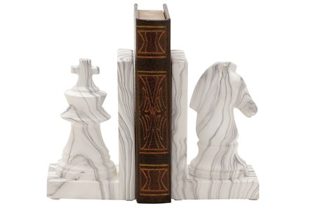 2 Piece Set Marble Finish Chess Bookends - Main