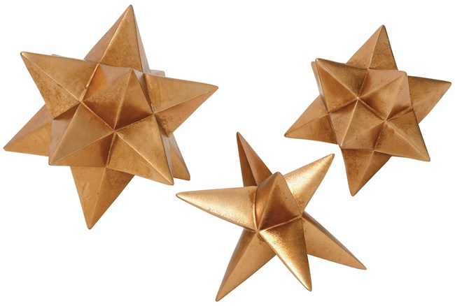 3 Piece Set Polystone Gold Star Decor - 360