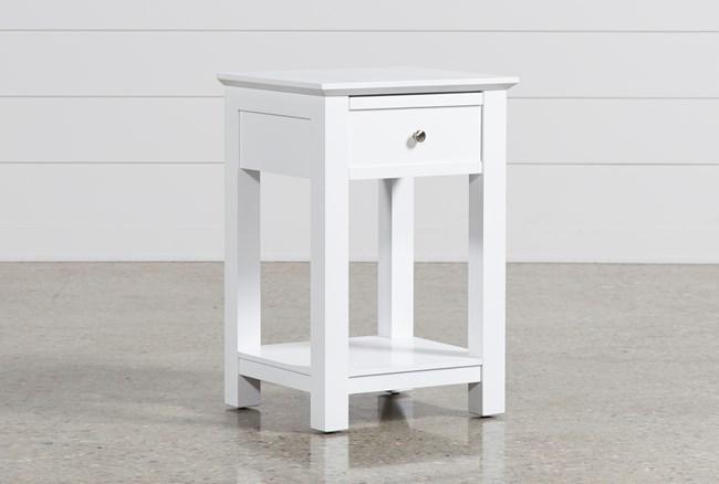 Bayside White 1-Drawer Nightstand - 360