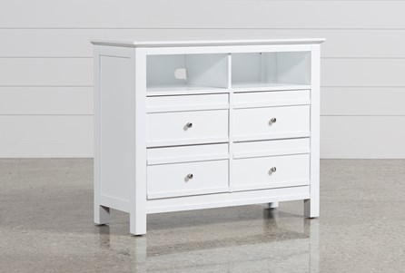 Bayside White Media Chest