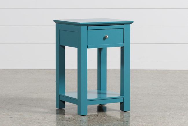Bayside Blue 1-Drawer Nightstand - 360