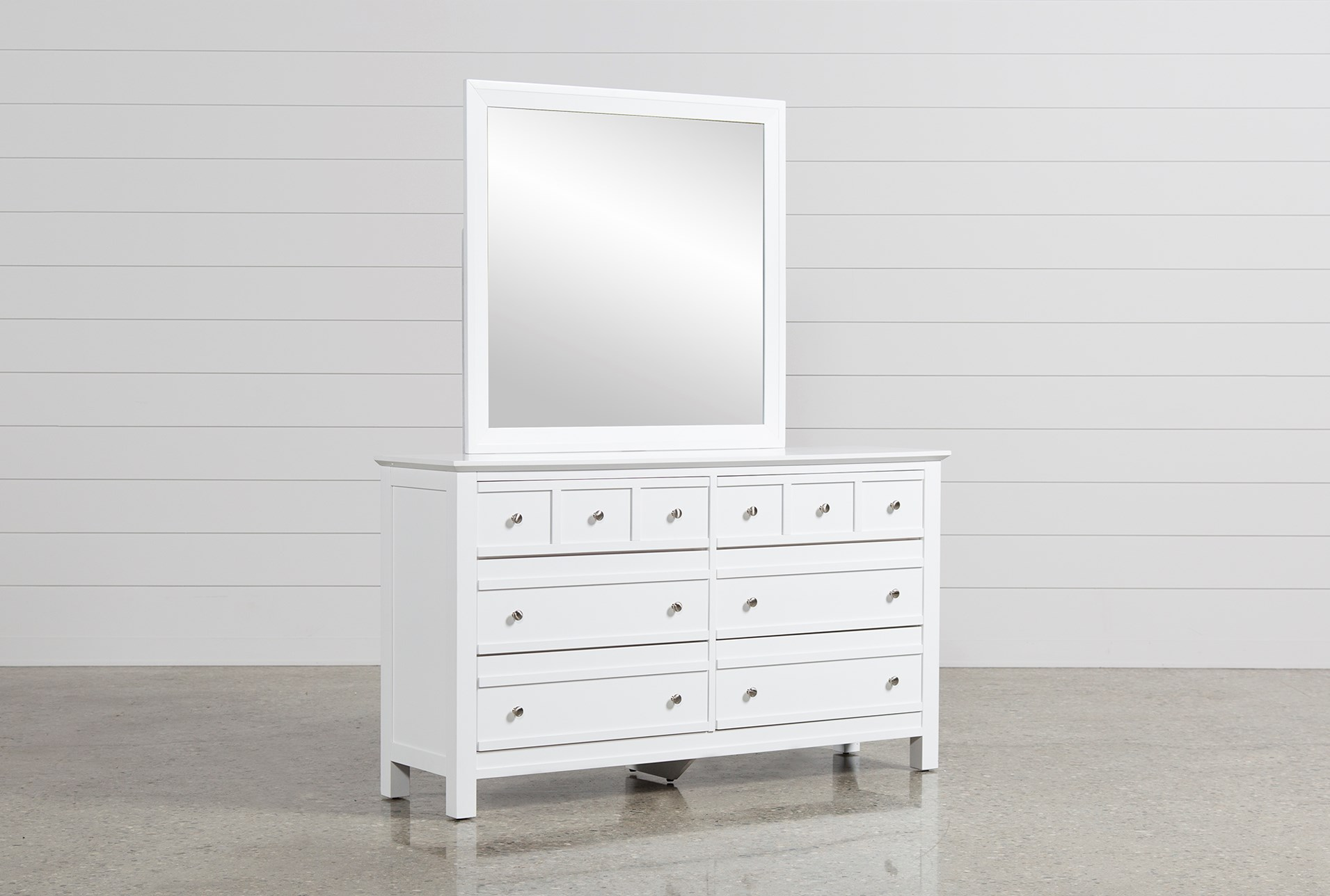 Bayside White Dresser Mirror Living Spaces