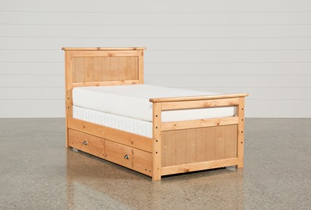 Summit Caramel Twin Panel Bed With Trundle With Mattress