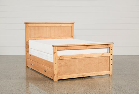Summit Caramel Full Panel Bed With Trundle With Mattress