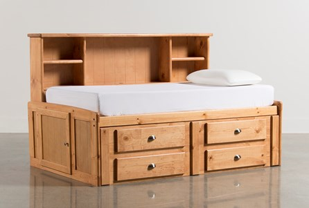 Summit Caramel Twin Roomsaver Bed With 4- Drawer Storage Unit