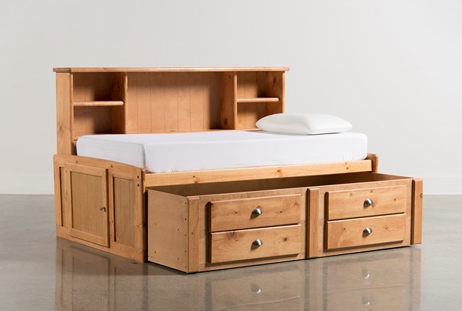 Summit Caramel Twin Roomsaver Bed With 2- Drawer Captains Trundle - 360