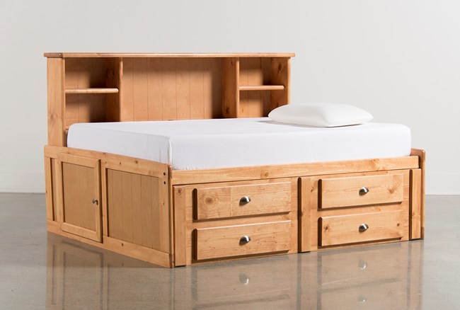 Summit Caramel Full Roomsaver Bed With 4- Drawer Storage Unit - 360