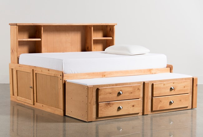 Summit Caramel Full Roomsaver Bed With 2- Drawer Captains Trundle - 360