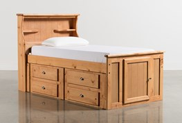 Summit Caramel Twin Bookcase Bed With Single 4- Drawer Storage