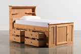 Summit Caramel Twin Bookcase Bed With Single 4- Drawer Storage - Back