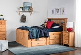 Summit Caramel Twin Bookcase Bed With Single 4- Drawer Storage - Room