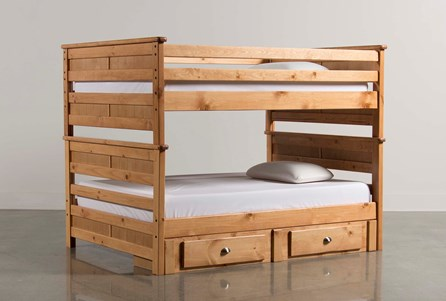Summit Caramel Twin Over Twin Bunk Bed With 2- Drawer Underbed Storage