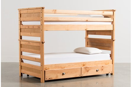 Summit Caramel Twin Over Twin Bunk Bed With Trundle With Mattress - Main