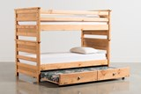 Summit Caramel Twin Over Twin Bunk Bed With Trundle With Mattress - Back