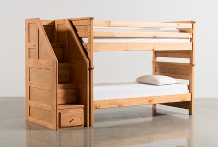 Summit Caramel Twin Over Twin Bunk Bed With Stairway Chest