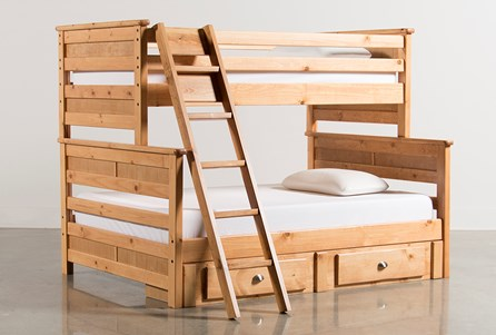 Summit Caramel Twin Over Full Bunk Bed With 2- Drawer Underbed Storage