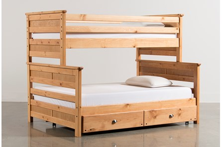 Summit Caramel Twin Over Full Bunk Bed With Trundle With Mattress - Main