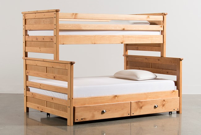 Summit Caramel Twin Over Full Bunk Bed With Trundle With Mattress - 360