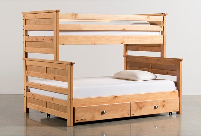Summit Caramel Twin Over Full Bunk Bed With Trundle With Mattress