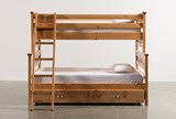 Summit Caramel Twin Over Full Bunk Bed With Trundle With Mattress - Left
